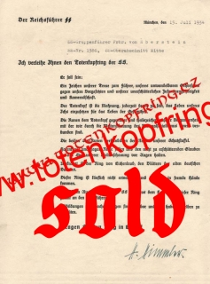 SS-Totenkopfring Award document Von Eberstein